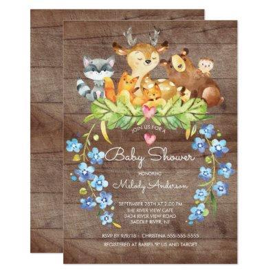 Rustic Woodland Animals Baby Shower Invitations