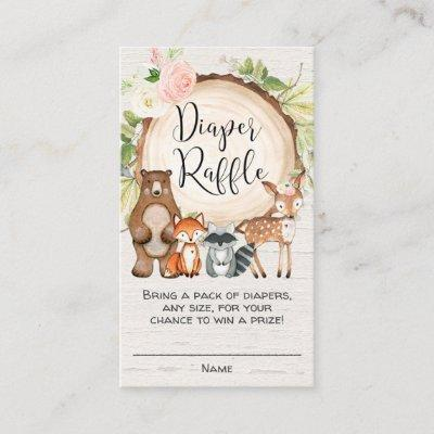 Rustic woodland animals girl diaper raffle cards