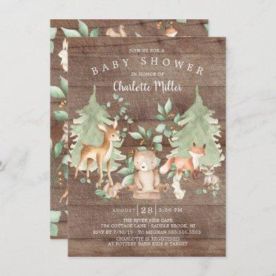 Rustic Woodland Animals Neutral Baby Shower Invitation