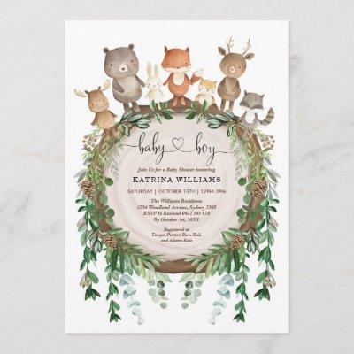 Rustic Woodland Forest Animals Baby Boy Shower Invitation