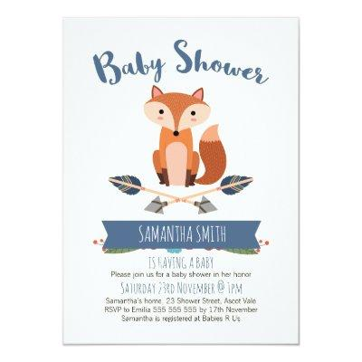 boy baby shower invitation fox baby shower invitations | baby, Baby shower invitations