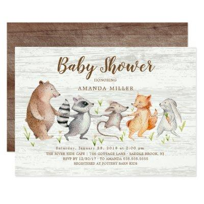 Rustic Woodland Friends Baby Shower Invitation