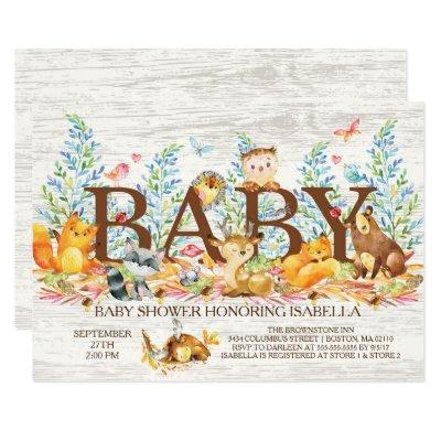Rustic Woodland Neutral Baby Shower Invitations