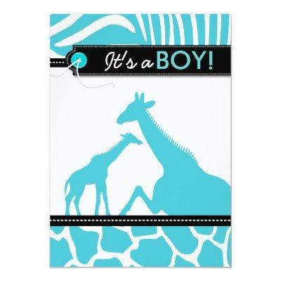 Safari animal baby boy shower invitation