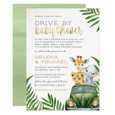 Safari Animals Baby Boy Drive By Baby Shower Invitation