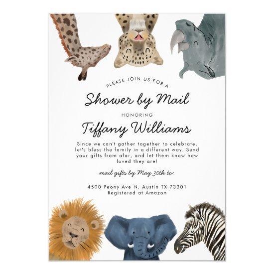 Safari Animals Baby Shower By Mail Invitation