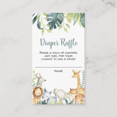 Safari animals baby shower diaper raffle cards