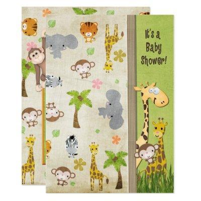 Safari Animals Baby Shower Invitation