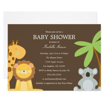 Safari Animals | Brown Invitation