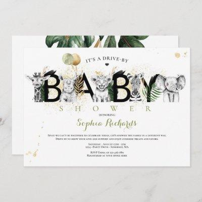 Safari Animals Drive By Baby Shower Greenery Gold Invitation