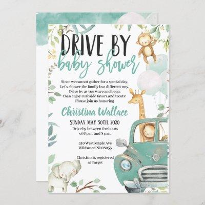Safari Animals Drive By Baby Shower Invitations