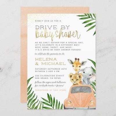 Safari Animals Drive By Pink Car Girl Baby Shower Invitation