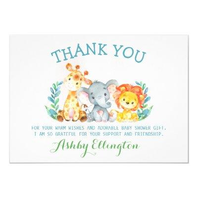 Safari Animals Flat Thank You Card