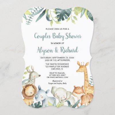 Safari animals gender neutral couples baby shower invitation