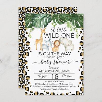 Safari Animals Leopard Skin Baby Shower Invitation