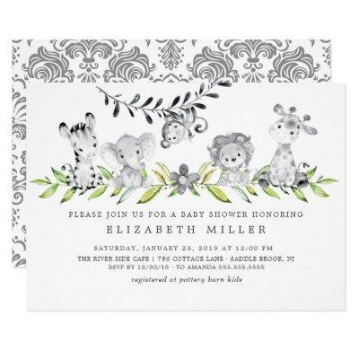 Safari Animals Neutral Baby Shower Invitation