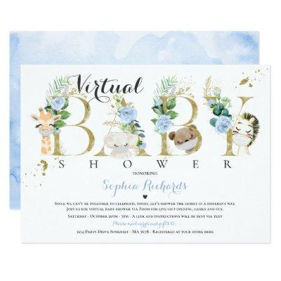Safari Animals Virtual Baby Shower Greenery Gold Invitation