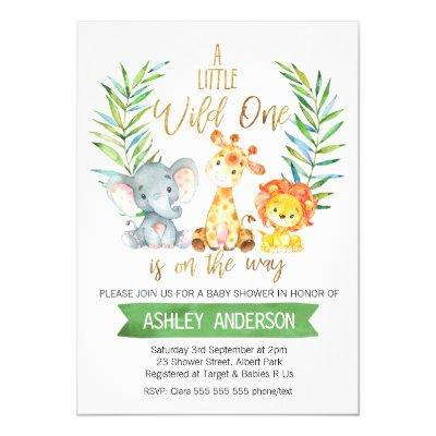 Safari Animals Watercolor Baby Shower Invitations