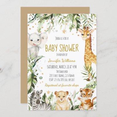 Safari Baby Animals Baby Shower Invitation