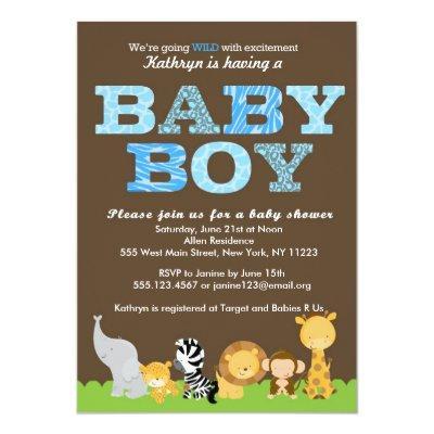 Safari Baby Boy Shower Invitations