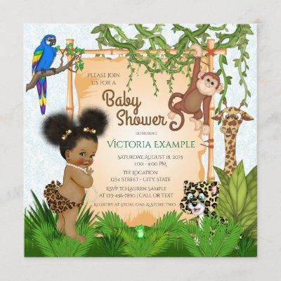 Safari Baby Girl Shower Invitations