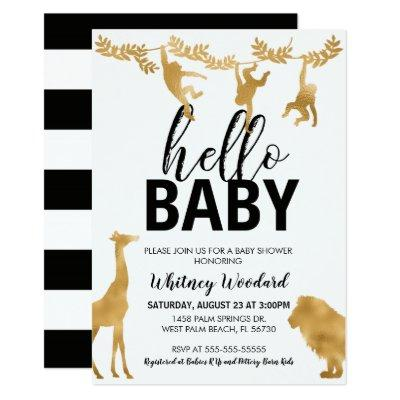 Safari Baby Shower Invitation | Black & Gold
