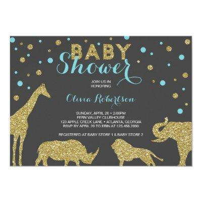 Safari Baby Shower Invitation, Faux Gold, Aqua Invitation