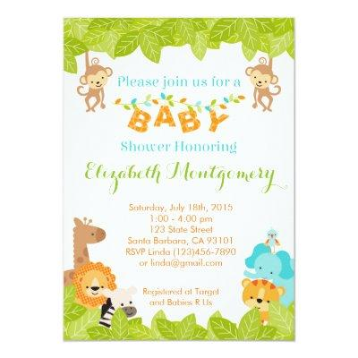 Safari Baby Shower Invitations with Animals