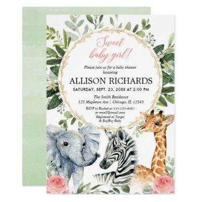 Safari baby shower Sweet baby girl jungle theme Invitation