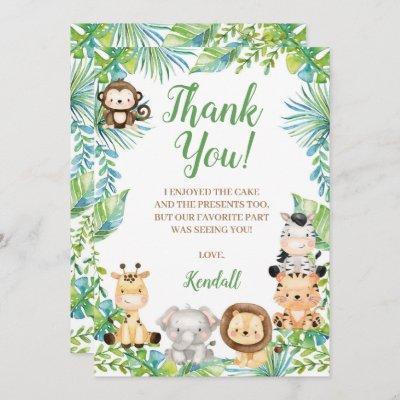 Safari Baby Shower Thank You Card