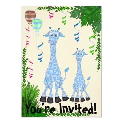 Safari Blue Giraffe Baby Shower Invitation