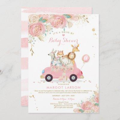 Safari Drive By Baby Shower Invitation Pink Floral