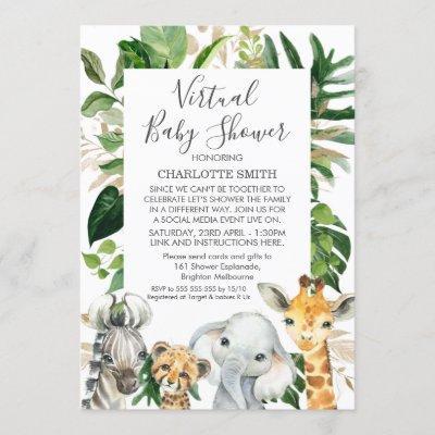 Safari Foliage Virtual Baby Shower Invitation