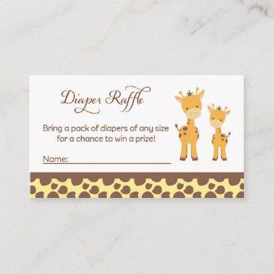 Safari Giraffe Baby Shower Diaper Raffle Tickets Enclosure Card