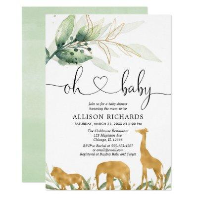 Safari gold animals gender neutral baby shower invitation