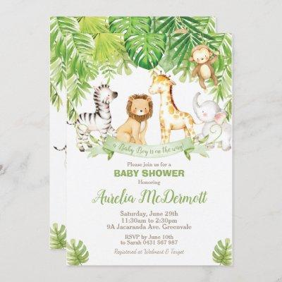 Safari Jungle Animals Baby Shower Boy Green Forest Invitation