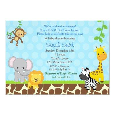 Safari Jungle Animals Invitations Boys