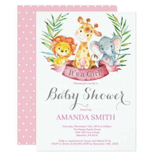 Safari Jungle Animals Girl Baby Shower Invitation