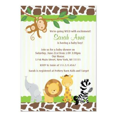 Safari Jungle Baby Boy Shower Invitations