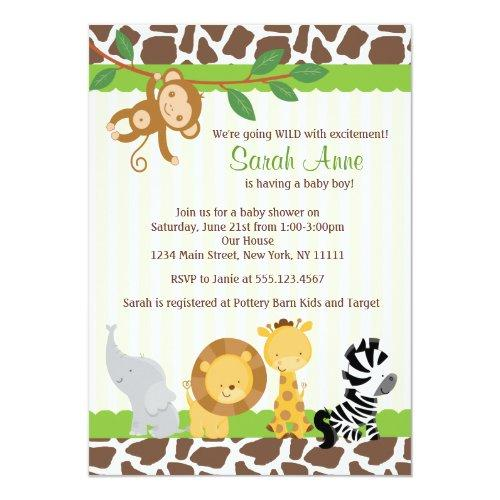 Safari Jungle Baby Boy Shower Invitations
