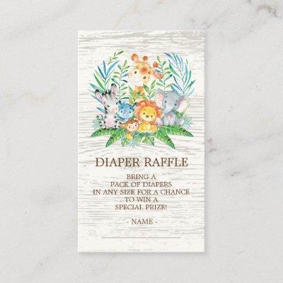 Safari Jungle Baby Shower Diaper Raffle Ticket Enclosure Invitations