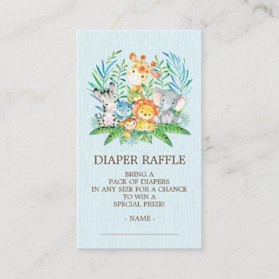 Safari Jungle Baby Shower Diaper Raffle Ticket Enclosure Card