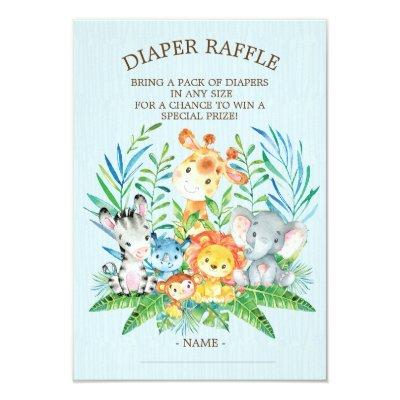 Safari Jungle Baby Shower Diaper Raffle Ticket Invitation
