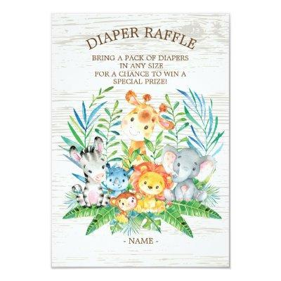 Safari Jungle Baby Shower Diaper Raffle Ticket Invitations