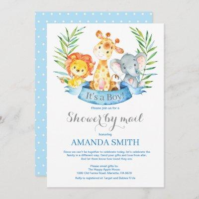 Safari Jungle Boy Baby Shower by Mail Invitation
