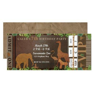 Safari Jungle Brown Animals Birthday Party Ticket Invitation