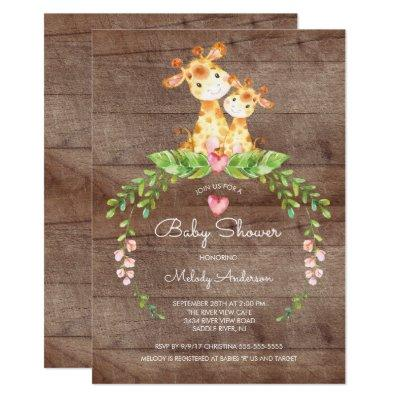 Safari Jungle Giraffe Baby Shower Invitation