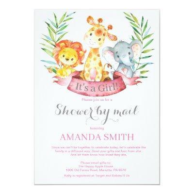 Safari Jungle Girl Baby Shower by Mail Invitation