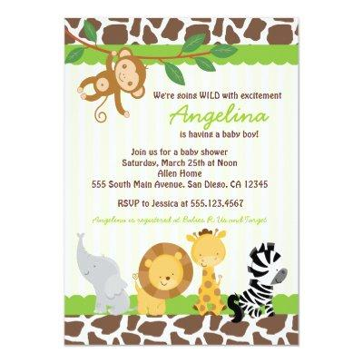 Safari Jungle Monkey Invitations