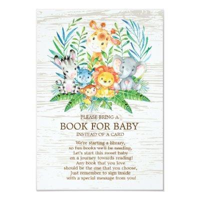 Safari Jungle Neutral Baby Shower Book for Baby Invitations